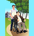 man pushing a senior in a wheelchair vector image vector image