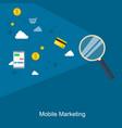 mobile marketing flat design on blue background vector image