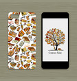 mobile phone design floral background vector image vector image