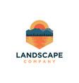 mountain and sea lake landscape adventure logo vector image vector image