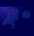 netherlands map from blue pattern from composed vector image vector image