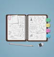 Notebook with business pencil drawings vector image