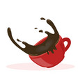 red cup hot spilled coffee vector image vector image