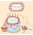 Retro Doodle Birthday Cake Card vector image