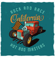 rock and race california poster vector image vector image
