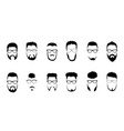 Set bearded men faces hipsters