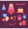 set objects happy birthday vector image