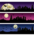 Set of Halloween night banners vector image