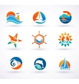 Set of nautical sea icons and symbols vector image vector image