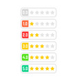 set of simple colored rating star vector image