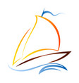 ship with a sail on the waves vector image vector image