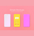 simple phone mockups of minimalist style vector image vector image