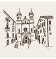 sketch drawing of Church of Saint Tryphon in Kotor vector image