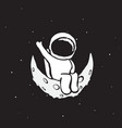 spaceman sits on the moon vector image