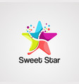 sweet star logo icon element and template vector image