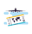 ticket flight document with airplane vector image vector image