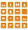 underwear items icons set orange vector image vector image