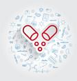 vitamin icon on handdrawn healthcare doodles vector image