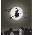 Witch flying on besom vector image