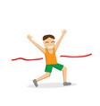 happy male runner cross the finish line vector image