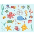 Set of underwater animals vector image