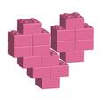 building bricks in 3d broken heart vector image
