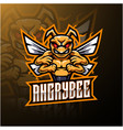 angry bee mascot logo design vector image