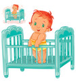 baby is in his cot vector image vector image