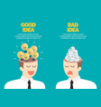 bright idea and junk idea in businessmen head vector image