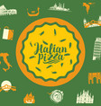 cartoon banner with italian pizza and landmarks vector image