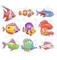cartoon fishes aquarium sea tropical fish funny vector image
