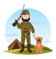Cartoon hunter with rifle and hunting dog vector image vector image