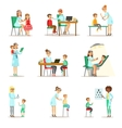 Children On Medical Check-Up With Female vector image vector image
