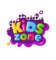 children playground area kids zone logo on white vector image