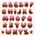 chocolate pink alphabet vector image