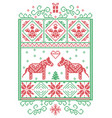 christmas pattern nordic with dala horse vector image vector image