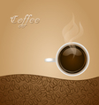 Coffee with Beans on Brown Background vector image vector image