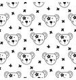 cute bear heads seamless pattern vector image vector image