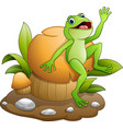 cute frog dancing with mushroom vector image