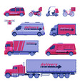 delivery vehicles collection express delivery vector image vector image