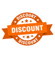 discount ribbon discount round orange sign vector image vector image