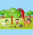 farm scene with boys raking leaves vector image vector image