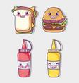 fast food collection kawaii cartoons vector image