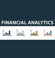 financial analytics icon set premium symbol in vector image vector image