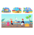 freelance workers with laptop at tropical resorts vector image vector image