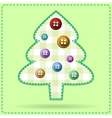greeting card with christmas tree dressed vector image vector image