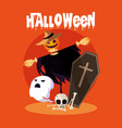 halloween card with scarecrow character vector image