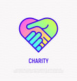 handshake in heart thin line icon with gradient vector image vector image