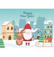 happy new year 2020 celebration santa deer sled vector image vector image