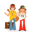 Hippie Couple Hitchhiking vector image vector image